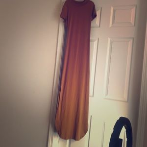 Long brown fitted dress